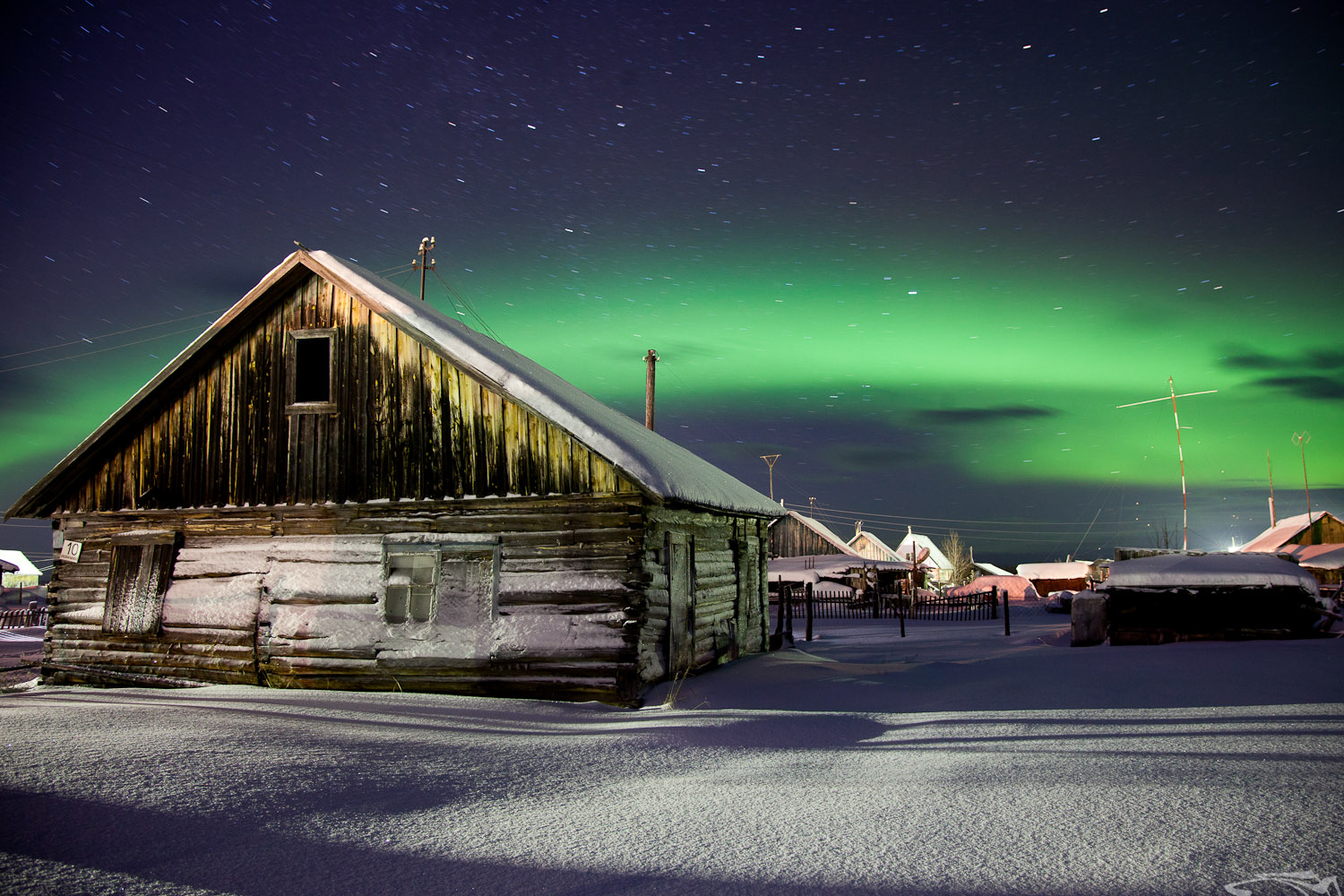 Northern Lights in Lovoziero, Kola Peninsula, Russia.
